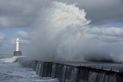 Reaching High (steve_whitmarsh) Tags: aberdeen scotland storm water sea ocean splash harbour wall waves