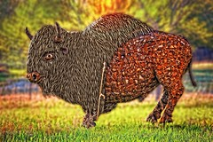 🌈Rainbow Buffalo🌈 (Cindy Roy's Photography) Tags: sun buffalo statue colours happy sunshine nature rural outside sunny blur grass trees green summer park bison