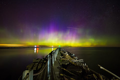 The Light and Color Ahead (matthewkaz) Tags: auroraborealis northernlights aurora pointbreeze oakorchardcreek kent carlton lakeontario lake ontario greatlakes water reflection reflections lights pier breakwall sky astronomy astrophotography stars night dark newyork longexposure 2017