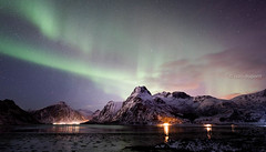 Chasing the Northern Lights in the Lofoten Islands, Norway (monsieur I) Tags: lofotenislands night norway articcircle winter travel north norwegian lofoten nature mountains lake monsieuri iced northernlights