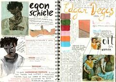 Schiele & Degas (katyabk) Tags: human body painting research nude schiele degas borremans freud colours