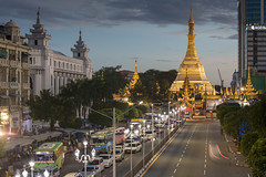 The golden Sule pagoda at sunset in the heart of Yangon, Myanmar (Tim van Woensel) Tags: sule pagoda yangon burmese stupa downtown myanmar burma asia travel gold golden road traffic city cityscape buddhist buddha rangoon colonial era