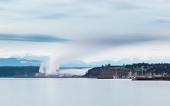 To Pass The Time... (John Westrock) Tags: longexposure landscape porttownsend clouds overcast factory steam mountains washingtonstate pacificnorthwest canoneos5dmarkiii canonef100400mmf4556lisusm bwnd1000x