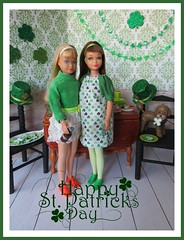 10. Happy St. Patrick's Day! (Foxy Belle) Tags: doll barbie st patrick patricks day party diorama green holiday celebrate miniature dollhouse 16 playscale food shamrock dog hudson skipper wooden table chairs dining room handmade sew dress smock glitter decorations