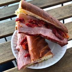 ham, mozzarella, pesto and sundried tomato sandwich from Les Gourmands Bakery (Fuzzy Traveler) Tags: brioche ham mozzarella pesto sandwich sanfrancisco bakery lesgourmandsbakery french soma foodie