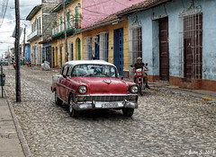 ... (Jean S..) Tags: trinidad cuba car street house red blue yellow stone doors old ancient