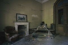 'Care, and not fine stables, make a good horse'.... (Taken By Me Photography) Tags: abandoned adventure building closed creepy chair derelict decay dark door demolished d750 doors explore eerie exploring empty forgotten floor gone house hall horse home left lost nikon neglect painting ruin ride shut takenbyme takenbymephotography urbex urban ue fireplace