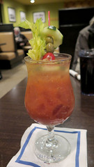 Cucumber bloody mary (Coyoty) Tags: townlinediner rockyhill connecticut ct diner restaurant food white olives veggies vegetables cucumber red green effen vodka zingzang bloodymary drink alcohol cocktail tomato garnish booze beverage