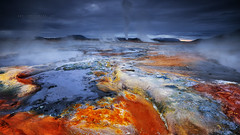 H V E R I R (FredConcha) Tags: hverir iceland volcanic landscape nature geothermal colors fredconcha nikon d800 touristic cloudy mountain thermal floor red
