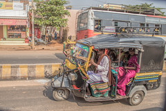 full rickshaw (sami kuosmanen) Tags: india intia nainen girl photography people travel woman hospet road tie colorful creative rickshaw man mies full
