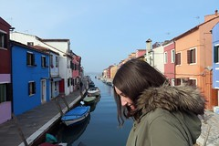 Burano bridge crossing (The Legend Kay) Tags: venice italy europe city cityife cityofcanals floatingcity travel travelphotography urban architecture burano canal water boats sea clearskies skies colour colourful colouredhouses smile people person
