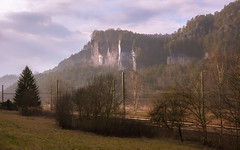 Scenic Train Route (redfurwolf) Tags: saxony saxonswitzerland elbe mountain sunset train track traintracks sky nature nationalpark nationalgeo landscape mountains germany tree redfurwolf sony rx100m4 sonyimaging travel hiking