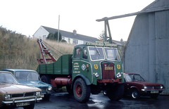 highland - sutherland transport aec towing vehicle depot lairg 08-10-1982 JL (johnmightycat1) Tags: aec towing scotland
