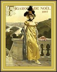 1897 Nov  COVER  From Figaro illustré, Figaro de Noël (Paris), Woman on Balcony - Tall Plumes in Hat,   art by François Flameng (skaradogan) Tags: robertchaefner robert haefner c bob