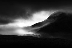 Misty (mpdfoto) Tags: misty mountain scotland bw blackwhite fog clouds trees