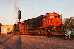 Sunrise on the C's (Wheelnrail) Tags: wnyp western new york pennsylvania train trains c636 alco american locomotive works rails railroad railway diesel yard olean ny sunrise golden light