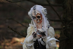 Fallen angel (Mamzelle Follow) Tags: popodollramiel spiritdollproudbody dollchateauhands fallenangel halfskullhead handmademask handmadewig forest wood outside