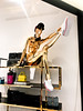 Stretch the Gold (Lyubov Love) Tags: model modeling fashion design pose posing mannequin style stylish gold golden stretch sport stretching sporty cool hip creative sparkle sparkling bling