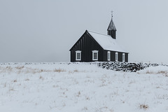 The Black Church of Budir (B.E.K. Photography) Tags: budir black church iceland snow overcast sky wall architecture budakirkja winter blizzard grass outdoor landscape nikond850 nikon2470f28