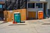 Construction site on the hill ([nixon]) Tags: sanfrancisco color california fujifilmxpro2 street light tolilet windows wood orange green afternoon sunny sun sunnyday