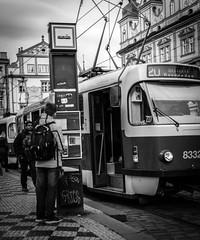 Tramspotting (Henka69) Tags: tram streetphotography monochrome praha prague publictransportation