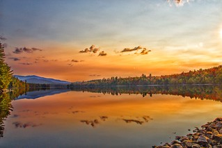 Lake Placid New York ~ Evening Sunset ~ Golden Reflection - Adirondack Mountains
