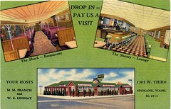 The Shack & The Shanty, Spokane, Washington (SwellMap) Tags: postcard vintage retro pc chrome 50s 60s sixties fifties roadside mid century populuxe atomic age nostalgia americana advertising cold war suburbia consumer baby boomer kitsch space design style googie architecture