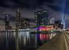 DSC_1022 (Patrick Herzberg) Tags: nederland rotterdam architectuur avond avondfotografie d5200 erasmusbrug gebouw langesluitertijd longexposure nacht nikon skyline stad water