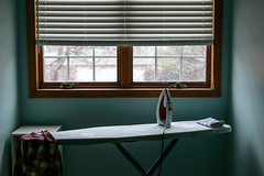 Where is spring?? (dshoning) Tags: laundry room iron shirt window snow gloom