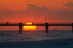 Okaloosa Island Pier Sunset (ChristineDarnell) Tags: sunset floridasunset floridapanhandle florida sun water pier clouds beach sand