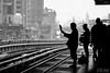 Waiting for the Skytrain (D. R. Hill Photography) Tags: bangkok thailand asia southeastasia train skytrain bts rail railway station platform transport silhouette blackandwhite street streetphotography city urban nikon nikond3100 d3100 nikon18200mm 18200mm
