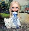 Aspen & Snowball (The doll keeper) Tags: braids aspen winterish allure custom blythe doll white stuffed dog