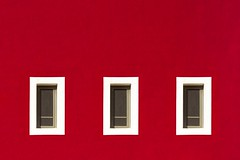 Three Windows in a red wall (Jan van der Wolf) Tags: 18177 windows fuerteventura wall facade gevel red rood herhaling repetition