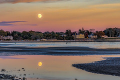 """Moonrise At Sunset"" Mouth of Milford Harbor (steve krystopowicz) Tags: milford connecticut unitedstates us"