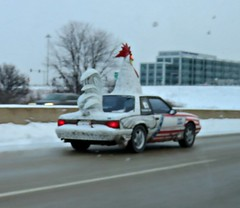 What I saw traveling to work one day in January (debstromquist) Tags: cars weirdcars i88 eastbound naperville il illinois chickencars outoffocus