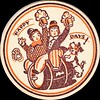 Beer Coaster Happy Days! (sdwalden6) Tags: beer coaster vintage sweetadeline happydays bowlerhat beerbarrel dog advertising beermugs sepia brown orange revelers pretzel pretzle beerculture alcohol brewing circle 1910s 1900s antique old retro