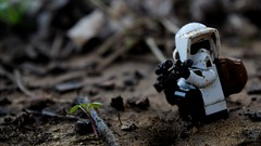 Scouting (lil' update) (RagingPhotography) Tags: lego star wars gritty serious dark scary black shade shades shady shadow shadows darkened scout trooper stormtrooper storm outside outdoors dirty filthy messy pose posed posing sniper blaster blast firearm weapon soil outdoor shot imperial galactic empire plastic toy toys minifigure figure minfig ragingphotography