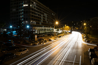 Long exposure during night. Car lights create these beautiful lines.