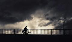 III 0-0 IIIIIII (fehlfarben_bine) Tags: nikond800 nikon16350mmf40 streetphotography silhouettes bridge cycle clouds mood dark monochrome berlin