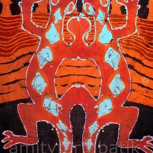 Excited to share the latest addition to my #etsy shop: Happy Lizards Mirror Image - print from original batik http://etsy.me/2FB5PBC #happylizards #love #batik #orange #earth #salamanders #artprint #amityfarmbatik