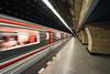 The Bullet Train (henriksundholm.com) Tags: prague czechrepublic czechia underground tunnel subway metro longshutterspeeds slowshutterspeeds movement signs train speed fast shadows lamps lights city urban