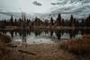 Down at the lake (reinaroundtheglobe) Tags: nature landscape intothewild grandtetonnationalpark mountains mountainrange lake reflection waterreflections moody greysky