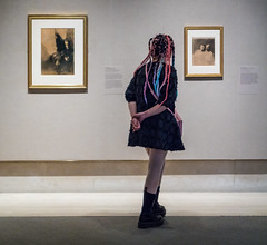 Leonardo to Matisse (John St John Photography) Tags: metropolitanmuseumofart streetphotography candidphotography exhibition drawings youngwoman braids multicolored enjoyment 82ndst newyorkcity newyork color johnstjohn robertlehmancollection