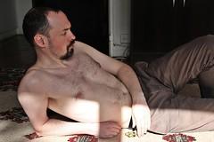 Jean-Marie # 5 (just.Luc) Tags: man male homme hombre uomo mann portret portrait ritratto retrato porträt face gezicht visage gesicht seminude seminu halfnaakt halfnaked shirtless barechested baard barbe barba bart beard nipples tepels bellybutton navel nombril chesthair borsthaar sun sunlight zon zonlicht soleil tapis tapijt rug laying liggen liggend couché parijs parigi paris france frankrijk frankreich francia frança