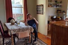 Teezeit im Retreat. Morgens um 10, mit der Kiwi-Tasse natürlich.