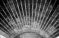 (Sergey Patskevich) Tags: canona1 ilfordpan100 abandoned film analog abstraction abstract roof angar bw blackwhite stripes architecture industrial