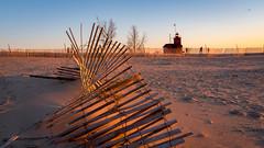 IMGP8330 (Drew's Arcade) Tags: holland michigan puremichigan pure beach snow fence winter sunset lighthouse big red