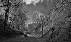 Only house (Twila1313) Tags: pittsburgh house lonely desolate trees hills mountains winding monochrome blackandwhite panasoniclx7