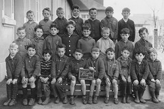 Class photo (theirhistory) Tags: children boys kids school class form jacket coat shoes shorts wellies rubberboots sandals