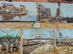 History Wall (clarkcg photography) Tags: wall rock brick art painting paint history muskogee oklahoma color plane boat car clock bridge wednesdaywalls
